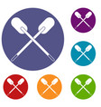 two wooden crossed oars icons set vector image vector image