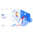virtual reality concept vr people digital mobile vector image vector image