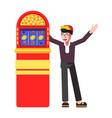 winner happy man at slot machine jackpot vector image vector image