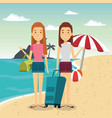 women in the beach characters vector image vector image