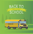 yellow schoolbus isolated on green background vector image vector image
