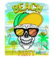 skull summer and beach vector image