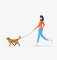 girl walking the dog on leash vector image