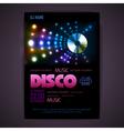 Disco poster neon background vector image