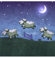 Three sheep jumping over the fence vector image