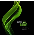 Abstract transparent green waves on black vector image vector image