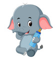 baby elephant with milk bottle vector image vector image