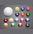 billiard balls american pool accessory set vector image