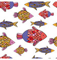 bright cheerful colorful fish stylized drawing vector image