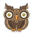 brown owl with big eyes vector image