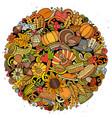 cartoon doodles happy thanksgiving day vector image vector image
