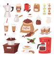 coffee drink cartoon pot devices and morning vector image vector image