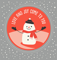 Cute snowman greeting card design vector image
