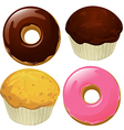Donuts and Muffins isolated on a white background vector image