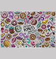 doodle cartoon set of donuts objects vector image
