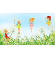 Fairies in the garden vector image vector image