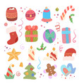 festive set different elements for new year vector image vector image