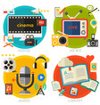 flat concept banners audio online library video vector image vector image