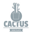 floral cactus logo simple gray style vector image vector image