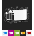 gift box paper sticker with hand drawn elements vector image vector image