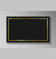 golden frame on black plate on transparent vector image