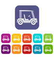 golf club vehicle icons set flat vector image vector image