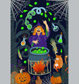 halloween witch conjures in forest above the vector image