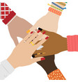 hands diverse group people putting together vector image vector image
