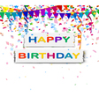 happy birthday with confetti background vector image