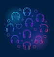 headphones line icons in circle shape vector image vector image