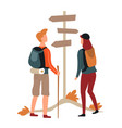 hikers couple man and woman direction pointer vector image vector image