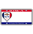 iowa state license plate vector image vector image