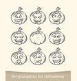 jack-o-lantern sketch doodle isolated on white vector image vector image