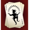 Joker silhouette on playing cards vector image vector image