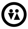 man and woman icon black color in circle vector image vector image