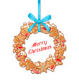 merry christmas greeting card with wreath of vector image vector image
