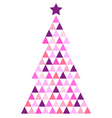 Merry Christmas pink Mosaic Tree isolated on white vector image vector image