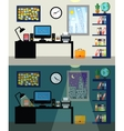 Office day and night vector image vector image