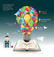 Open book infographic education light bulb techno vector image vector image