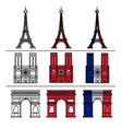 Paris Monuments Set - Eiffel Tower vector image