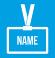 plastic name badge with neck strap icon white vector image vector image