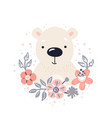polar bear cute animal baface with flowers and vector image