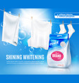 realistic laundry detergent ad poster vector image vector image