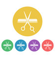 scissors and comb colored round icons vector image vector image