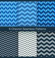 set of 6 chevron seamless patterns navy color vector image vector image