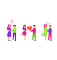 set of a loving couple man and woman vector image vector image