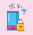smartphone cyber security internet gear vector image