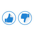 thumb up and down like and dislike blue round vector image
