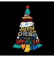 Typographic Christmas and New Year Tree Gifts vector image vector image