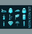 united arab emirates set icons blue neon style vector image